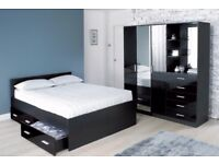 **WOW***SEE PICTURES* 4ft6 MODERN DOUBLE STORAGE BED FRAME - BLACK - LEATHER - LIFT BED