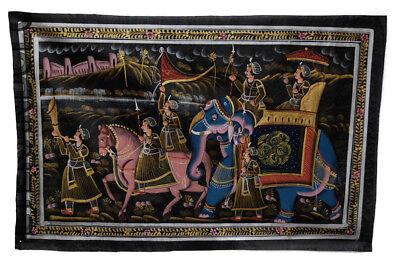 Hanging Wall Painting Mughal on Silk Art Scene de Life India 72x46cm 27