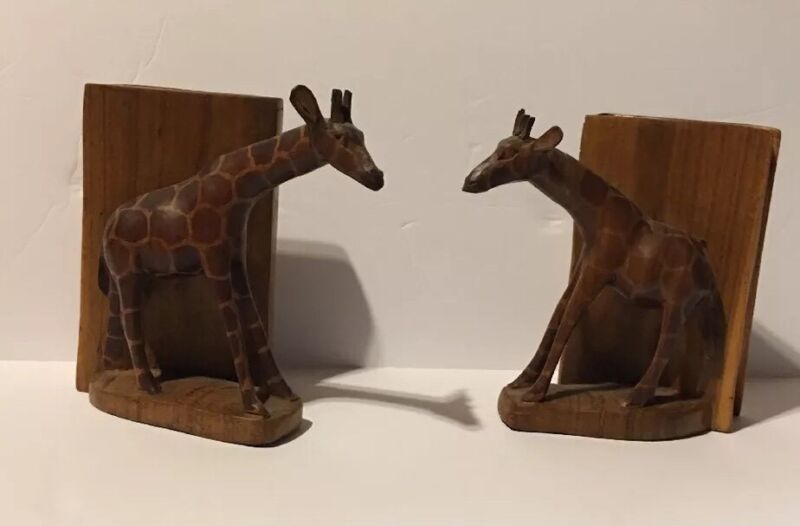 Hand Carved Wooden Giraffe Bookends 2 Pieces