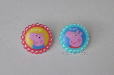Peppa Pig Cake Topper (12 Peppa & George Pig Cup Cake Rings Topper Decor Birthday Party Goody Bag)