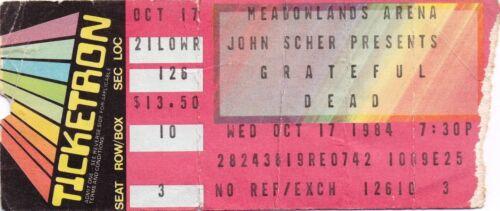 GRATEFUL DEAD TICKET STUB  10-17-1984  MEADOWLANDS ARENA