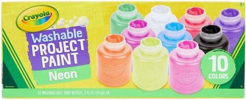 Crayola Washable Kids Paint, 10 Neon Paint Colors, 2oz Bottles