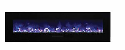 Amantii Wall Mount / Flush Mount Series Electric Fireplace with Ice Media  72 ""