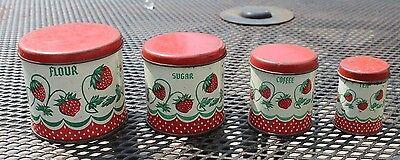 Vintage Wolverine Child's Tin Toy Kitchen Canister Set  Strawberries Pattern