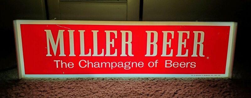 "Vintage Miller Beer ""The Champagne of Beers"" Light Up Bar Sign Display Man Cave"