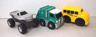 Kids School Bus Garbage Truck And Monster Jam Truck As Shown