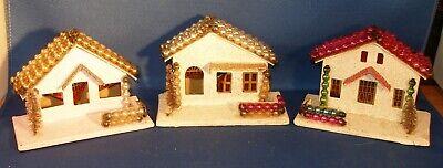 Set of 3 Vintage PUTZ Christmas Houses Mercury Glass Bead Roof Made Japan Drop Ceiling Housing
