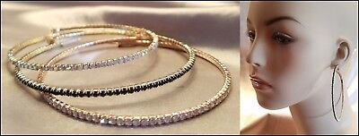 (NEW GOLD BLACK ROSE GOLD PAVE CRYSTAL RHINESTONE ULTRA THIN LARGE HOOP EARRINGS)
