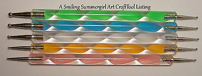 5 Double Ended Ball Stylus Tools 4 Nail Art, Paper and Metal Embossing, Clay