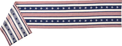4th Of July Table Runner (Patriotic Americana 4th of July Stars and Stripes Woven Cotton Table Runner)