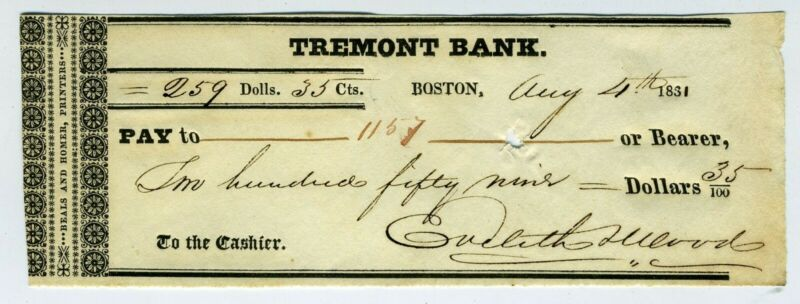 CHECK – TREMONT BANK BOSTON 1831