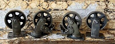 4 Huge 5 Industrial Iron Casters With Brake Modern Steam Punk For Cart