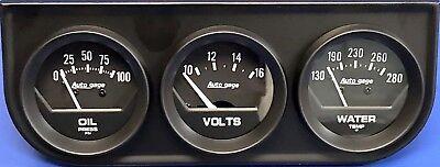 Auto Meter Autogage 2348 Black Three Gauge Consol Oil Pressure Volt Water Temp