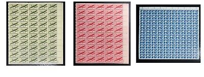 3 US Airmail Sheets — All MNH Stamps #C25-C26 & #C51 Full sheets of 50 & 100