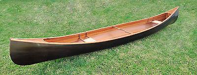 Cedar Strip Built Canoe 18' No Ribs Black Stained Finish Handmade Woodenboat USA