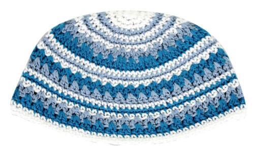 BIG JEWISH KIPPAH - Blue White Gray