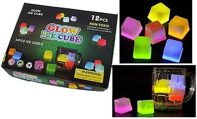 12 LIGHT UP GLOW IN THE DARY ICE CUBES light up bar novelties cube drinking new - Glow Ice Cube