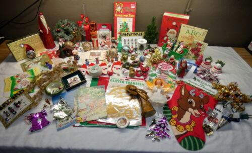 Large Lot Vintage Christmas Ornaments & Decorations Tree Stocking Santa Angel