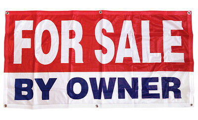 For Sale By Owner Banner Sign Vinyl Alternative 2x4 Ft - Fabric Rb