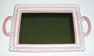 Shabby Cottage Chic Wood Glass Mirror Tray Rose Pink Vanity