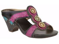 RIVA LEATHER SANDALS – MULE - SHOES - FUCHSIA PINK SIZE 41 UK 8