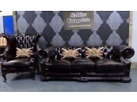 Refurbished Dellbrook Chesterfield Suite 3 Seater Sofa & Wing Back Chair in Oxblood Leather Delivery