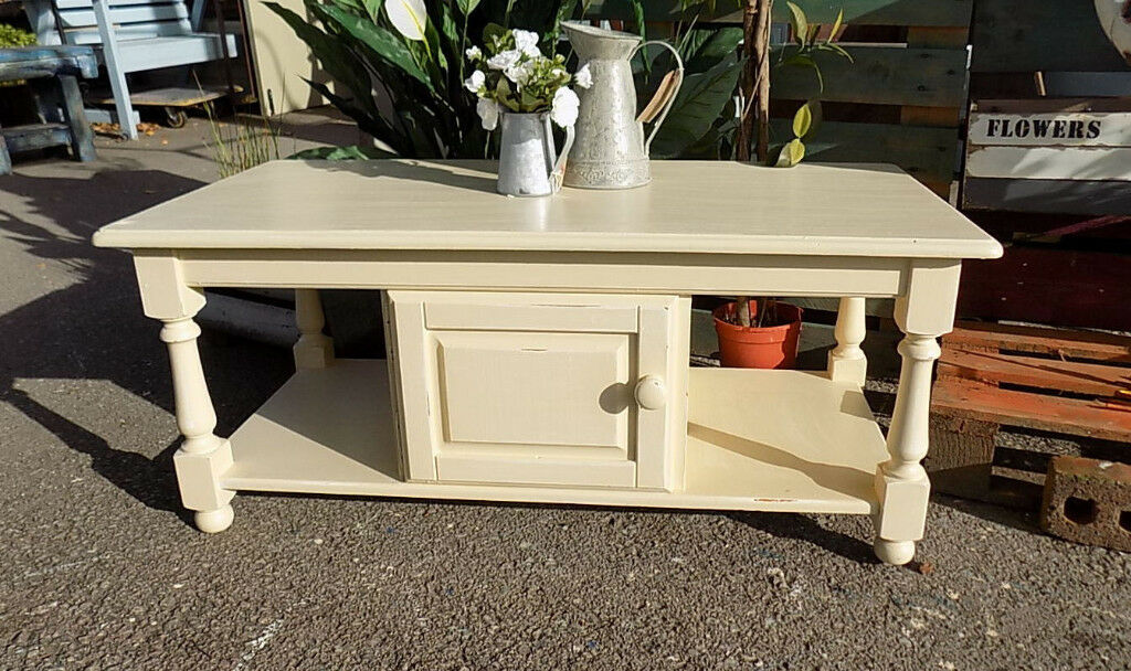 Painted Cream Solid Pine Shabby Chic Coffee Table