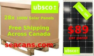 100W Solar Panels Free Shipping Across Canada - $89 Per Panel or $2492 Per Pallet