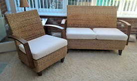 Woven banana leaf settee and chairs