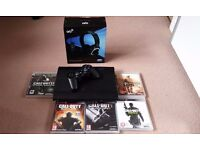 Playstation 3 Ps3 Super Slim 160GB w/ 5 games, controller headset Good Condition
