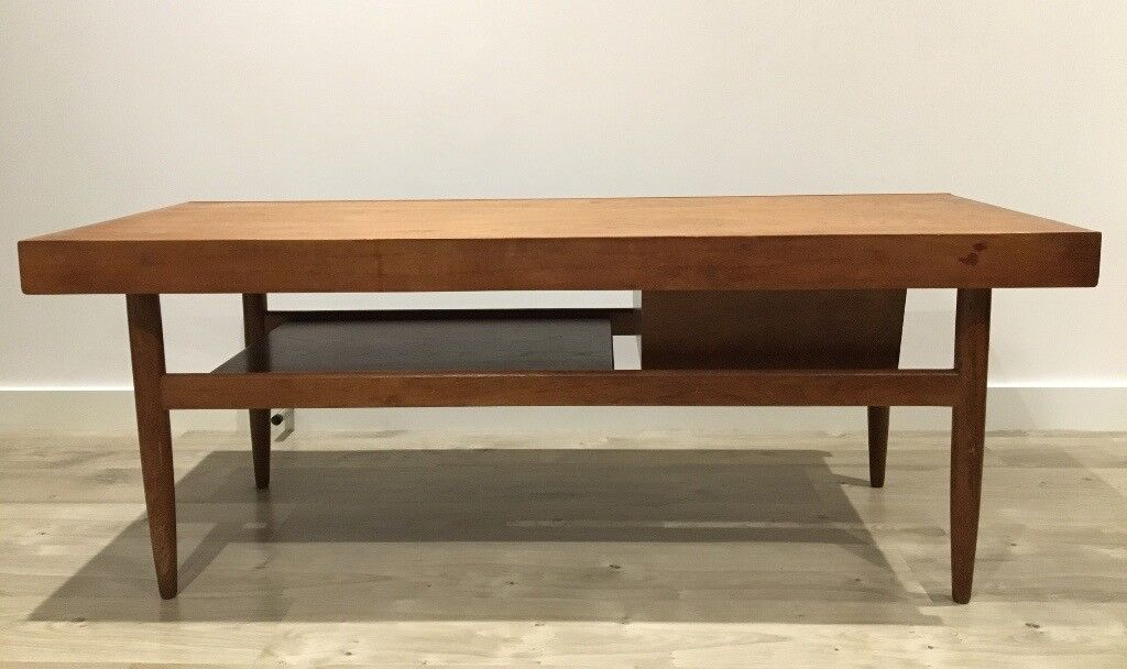 Vintage White Newton Teak Coffee Table With Lower Shelf And Sliding Top