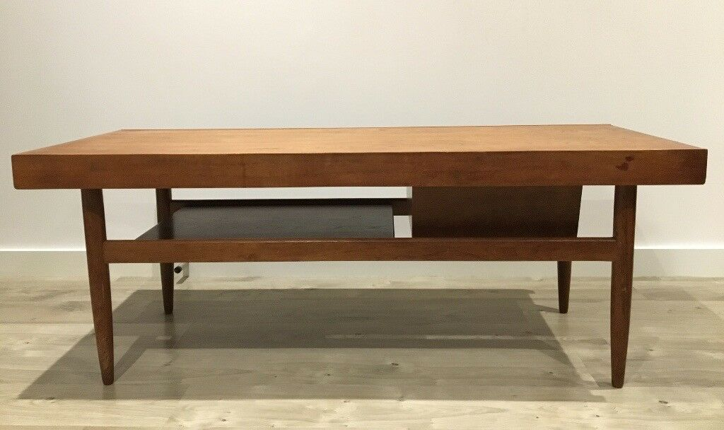 Vintage White Newton Teak Coffee Table With Lower Shelf And Sliding