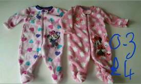 Baby girl fleece sleepsuits up ages up to 3 months