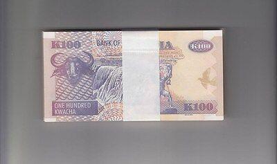 ZAMBIA 2010 100 Kwacha Bird  Bundle 100pcs UNC. Banknotes Pick 38i Wholesale