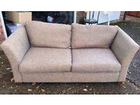 John Lewis Three-Seater Sofa Brown Fabric For Sale
