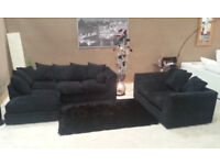 NEW DYLAN JUMBO BLACK CORNER SOFA | 1 YEAR WARRANTY | EXPRESS DELIVERY ALL UK | SPRING BASE