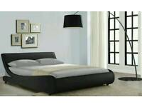 Large bed frame leather black double king queen