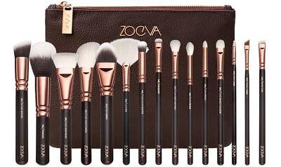 NEW 15pcs Complete Zoeva Make Up Brush Set Bag Brushes Rose Golden UK SELLER