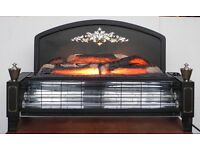 Electric radiant 2 bar fire with flame effect and glowing wood fuel bed.