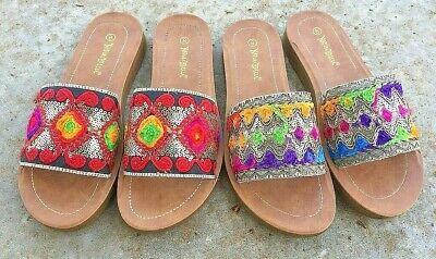 CUTE Multi Color Rainbow Red Comfy Slip On Sandal Slide Fabric Sequin Open Toe ()