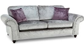Nearly New MUST GO, REDUCED TO CLEAR. CHEAP CRUSHED VELVET 2 SEATER SILVER FABRIC SOFA