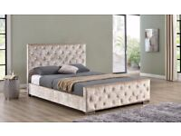 ❋❋ FREE & FAST DELIVERY ❋❋ CHESTERFIELD CRUSHED VELVET BED FRAME SILVER,BLACK & CREAM COLOR