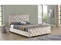 🌷💚🌷CHEAPEST OFFER🌷💚🌷NEW CHESTERFIELD CRUSHED VELVET BED FRAME SILVER, BLACK AND CREAM COLORS