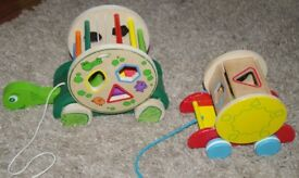 2 x Baby Pull Along Wooden Toys with Shapes