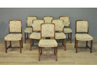 Attractive Set of 8 Eight Antique Edwardian Oak Dining Chairs For Reupholstery