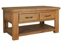 Arizona Solid Pine Coffee Table 2 Drawer 1 Shelf (£152 new)