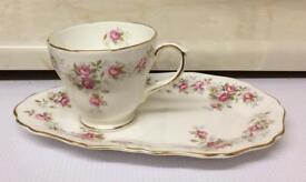 Duchess Bone China, June Bouquet Snack Plate & Cup