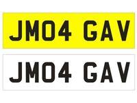 JM04 GAV registration plate on retention