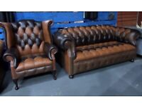 NEW Chesterfield Suite 3 Seater Sofa, Wing Back Chair Brown Leathers Uk Delivery