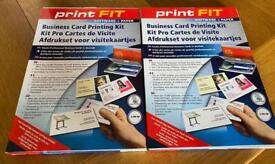 Two packs of Business card printing kits, 100 cards